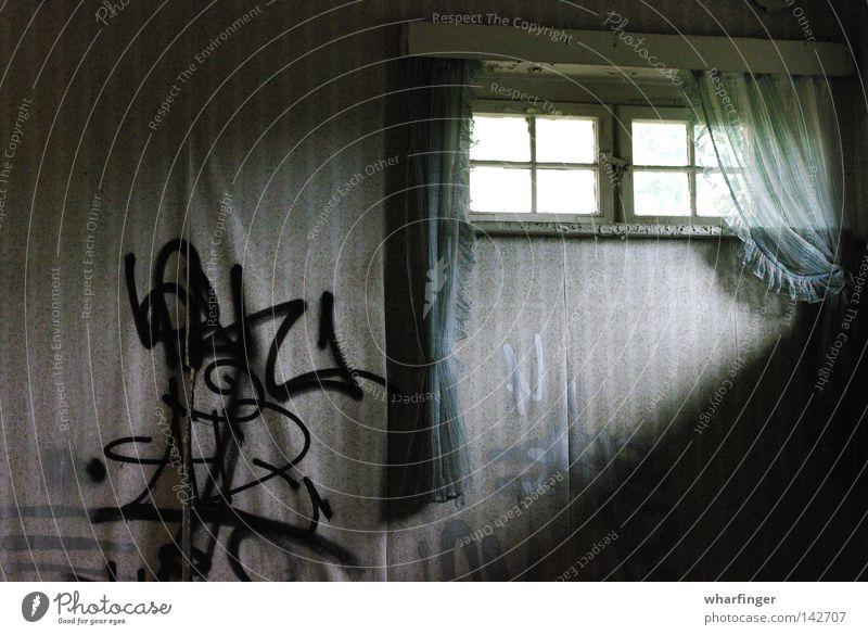 light gap Window Drape Wallpaper Wall (building) Window pane Light Shaft of light Shadow Graffiti Green Silver Beige Old Decompose Harmful Shabby Loneliness