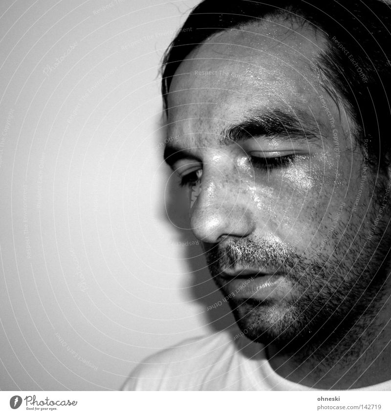 Sweat's subsiding Portrait photograph Perspiration Black & white photo Self portrait Effort Facial hair Fatigue Think Walking Running sports Glittering Unshaven