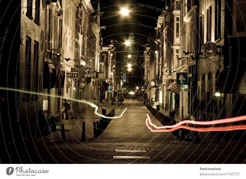 Vacation & Travel City Dark Street Night Fear Speed Street lighting Netherlands Hunting Traffic infrastructure Ghosts & Spectres  Alley Escape Flow Panic
