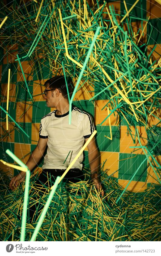 Search in the pile of drinking sticks Bah! Moody Power Emotions Green Trashy Gaudy Flashy Man Fellow Joy Wall (building) Illuminate Reaction Style