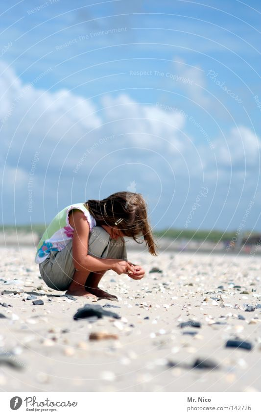 Child Sky Blue Hand Vacation & Travel Summer Ocean Girl Beach Clouds Relaxation Warmth Playing Coast Sand Stone
