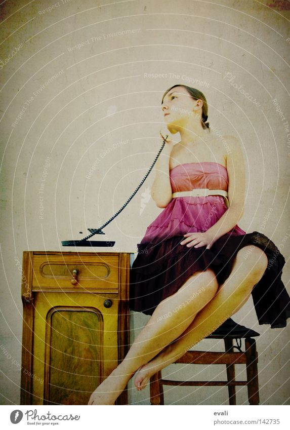 I am free, free reeling Portrait photograph Woman Dress Violet Pink Telephone Hover Clothing purple call Chair levitate small box Legs