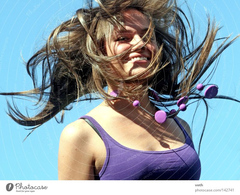 Jana Jump Violet Hair and hairstyles Portrait photograph Upper body Woman Eroticism Style Movement Chain Flying Blue Sky Brown Brunette Joy lily Laughter
