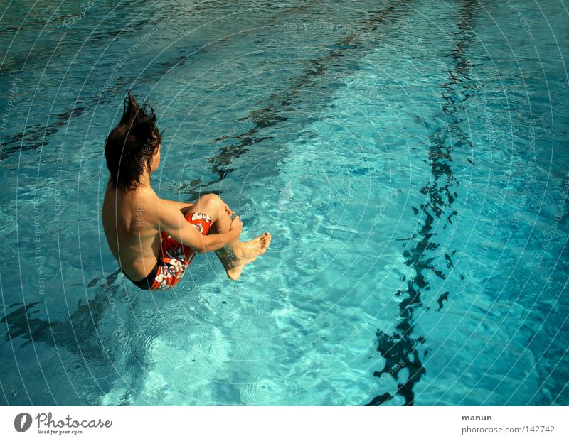 la bomba Joy Healthy Leisure and hobbies Swimming pool Youth (Young adults) Life Swimming trunks Jump Athletic Positive Blue Joie de vivre (Vitality)