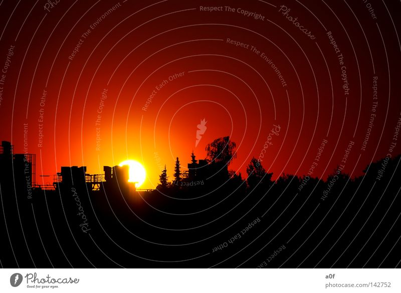 energy Energy Sun Sunset Red German Flag Silhouette Nature Environment Industrial zone Black Evening Celestial bodies and the universe silouette