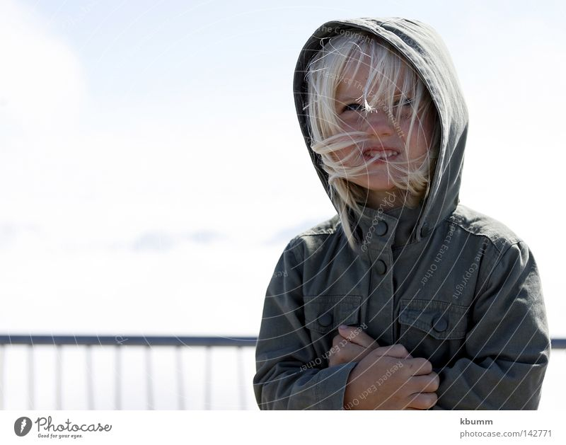 ...upstairs, and now? Zugspitze Cold Summer Hooded (clothing) Girl Blonde Child mona Sky