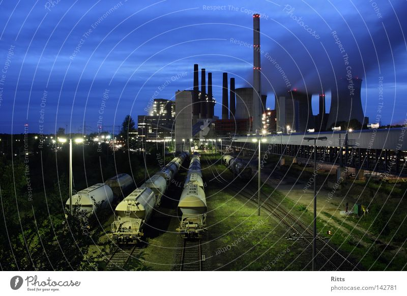 lignite-fired power station Coal power station Energy industry Production Smoke Electricity Railroad tracks Environmental pollution Building