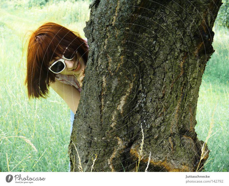 Woman Nature Tree Summer Joy Animal Meadow Laughter Field Eyeglasses Hide Tree trunk Sunglasses Whim Tree bark Hiding place