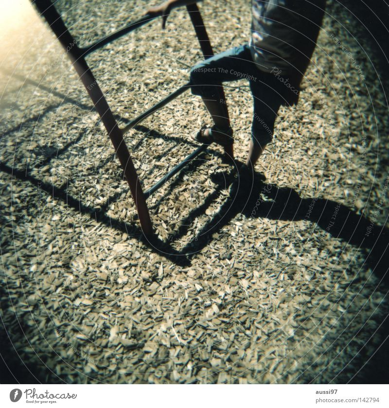 Summer Playing Movement Feet Break Analog Holga Ladder Gymnastics Playground Medium format Shaft of light Schoolyard Lomography Film Roll film