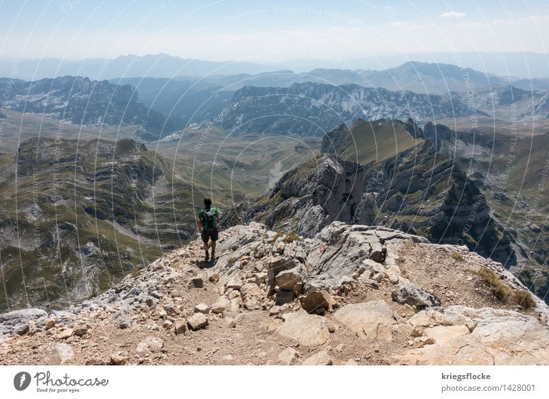 farsightedness Happy Athletic Fitness Calm Vacation & Travel Adventure Far-off places Freedom Mountain Hiking Elements Beautiful weather Hill Rock Peak Observe