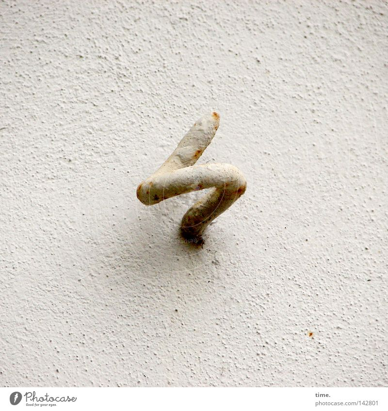 The hook in the matter Concrete Rust White Colour Checkmark Wall (building) Plaster Rotated To anchor Anchoring ground Bracket Hang up screw hooks Upward