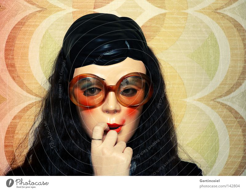Woman Human being Youth (Young adults) Hand Beautiful Adults Face Wall (building) Head Hair and hairstyles Crazy Decoration Eyeglasses Retro Mask Carnival