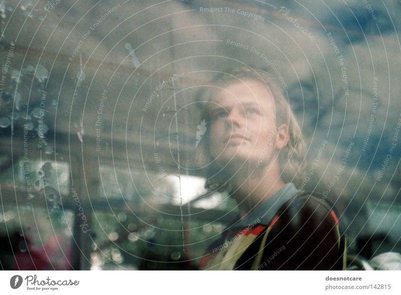 Man Clouds Window Dirty Blonde Adults Glass Transport Railroad Transience Analog Services Bus Window pane Passenger traffic Tram