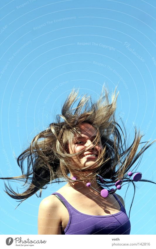Woman Blue Jump Hair and hairstyles Brown Violet Blow