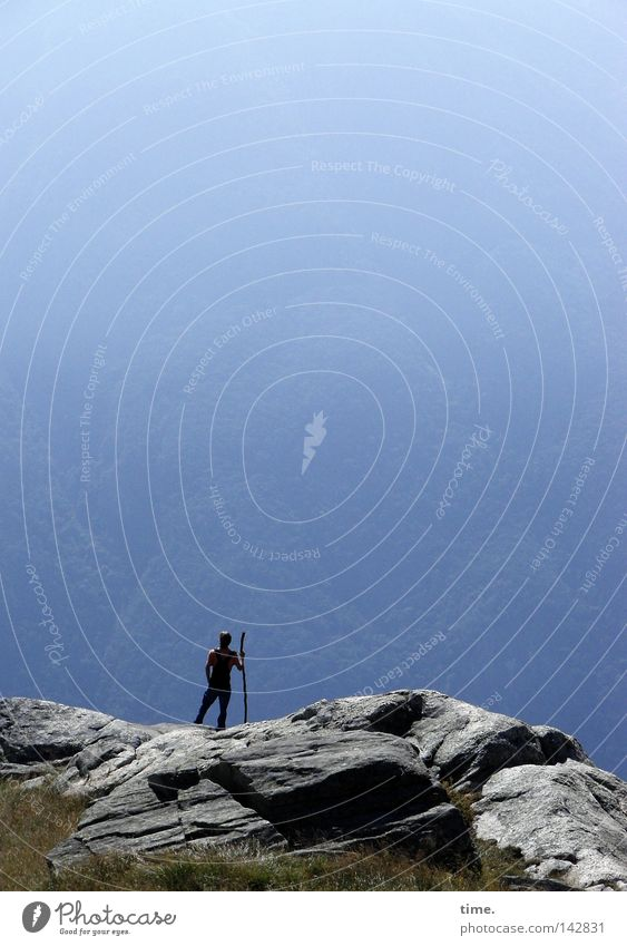 Sky Blue Joy Far-off places Above Mountain Stone Landscape Air Contentment Hiking Fog Rock Tall Break Level