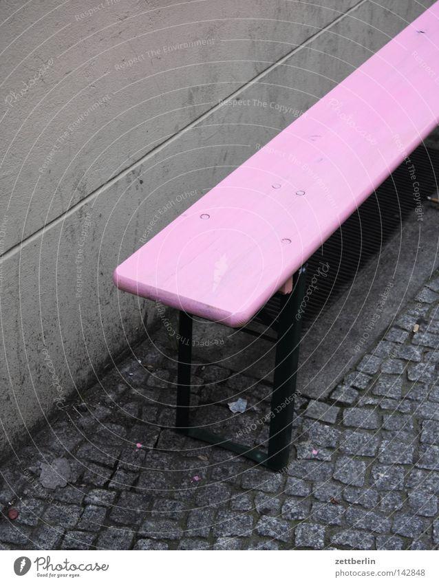 Large hamburgers Bench Beer garden Garden bench Pink Barber shop Empty Free Sidewalk Pavement Cobblestones Paving stone Furniture Living or residing Boredom