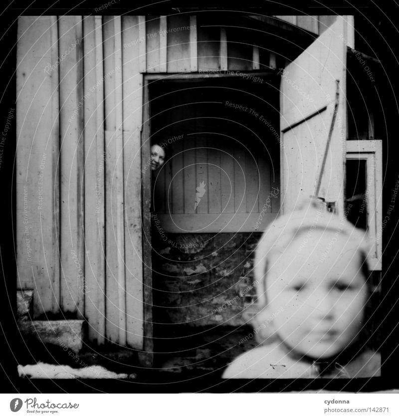 Photo journeys into the past Negative Medium format Historic Ancestors Time Back door Child Blur Past Memory Innocent Find Emotions Photography Attic Collection