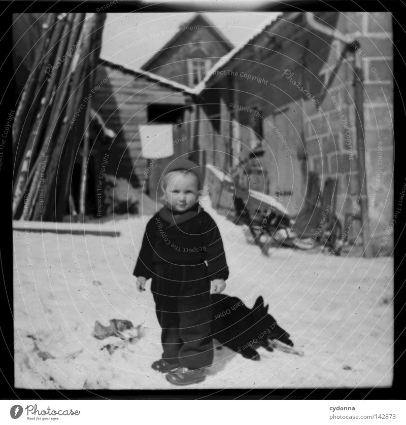 Photo journeys into the past I Negative Medium format Historic Ancestors Time Dog Winter Child Past Memory Innocent Find Emotions Photography Attic Collection