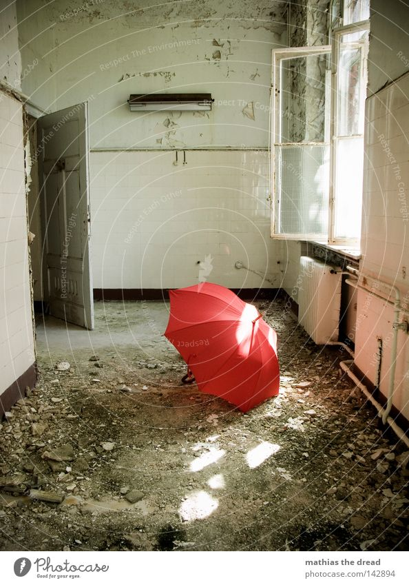 sunrays Umbrella Sunshade Red Things Wet Physics Damp Forget Loneliness Door handle Undo Close Heater Cold Room Plaster Building rubble Derelict Empty Window