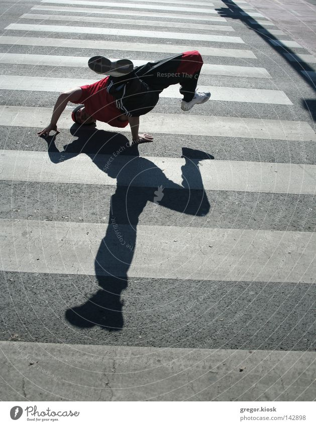 Breakdance Man White Red Clouds Black Street Gray Movement Bright Dance Flying Asphalt Middle Friendliness