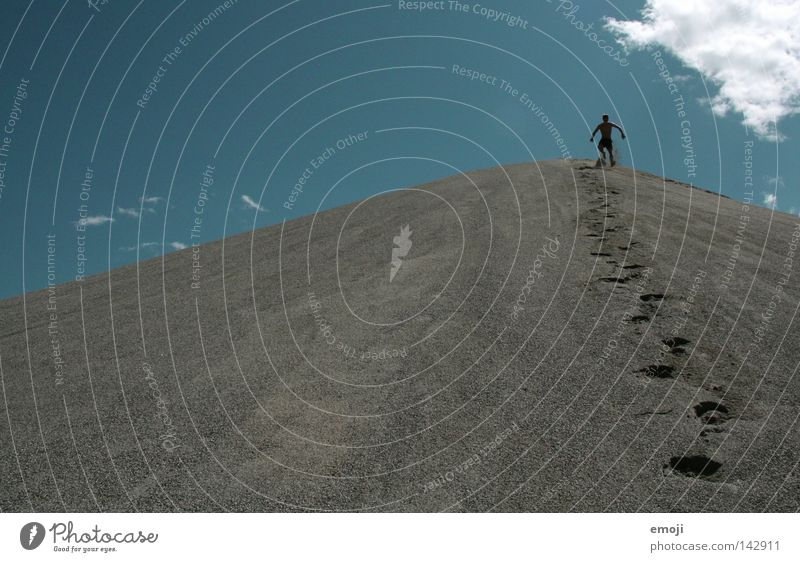 Human being Man Sky Loneliness Mountain Stone Feet Sand Power Small Going Walking Force Tracks Empty Stand