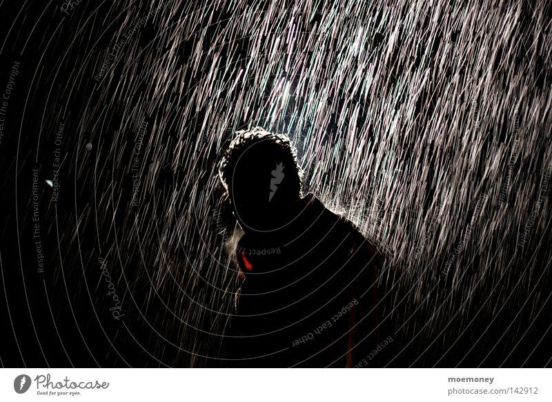 Künstlicher Regen Man Water Calm Black Loneliness Autumn Cold Dark Emotions Sadness Rain Weather Ice Wet Drops of water Grief