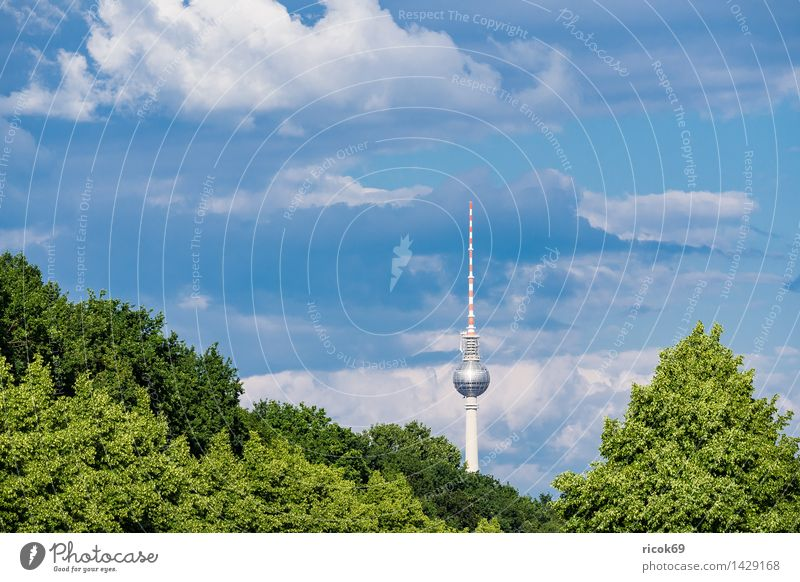 The Berlin Television Tower Vacation & Travel Tourism Clouds Tree Town Capital city Downtown Manmade structures Architecture Tourist Attraction Landmark Blue
