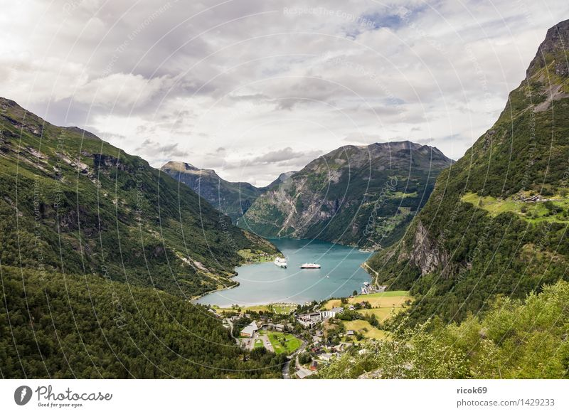 View of the Geirangerfjord Relaxation Vacation & Travel Cruise Mountain Nature Landscape Water Clouds Fjord Idyll Tourism Norway cruise liners Møre og Romsdal