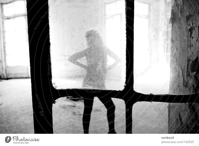 Pose for me, Baby! Posture Woman Window Door Light Black & white photo pose Silhouette source of light Splinter of glass