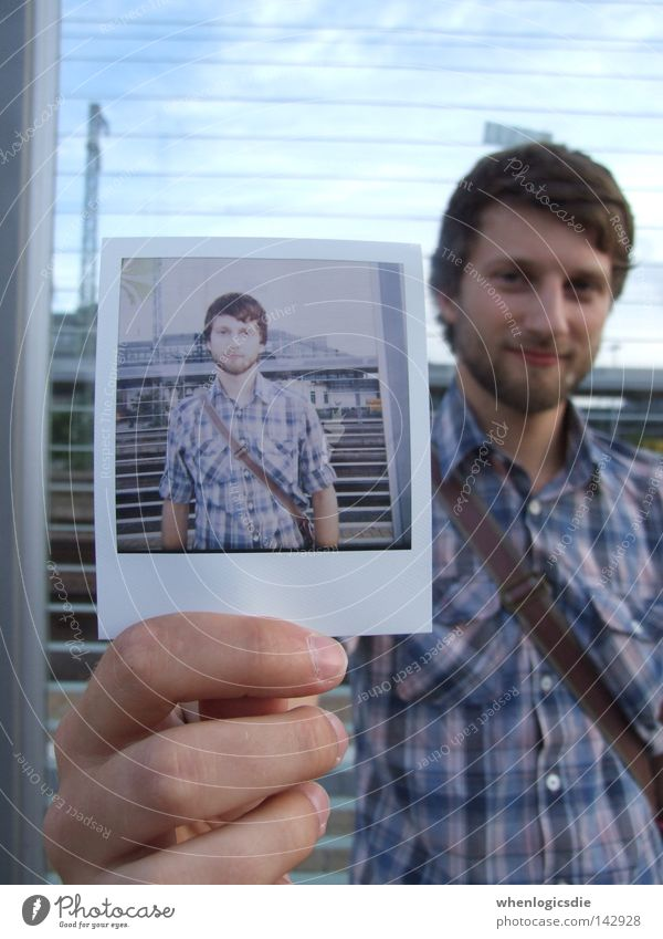 double mated. Polaroid Man Shirt Checkered Hand Photography Facial hair self-potrait