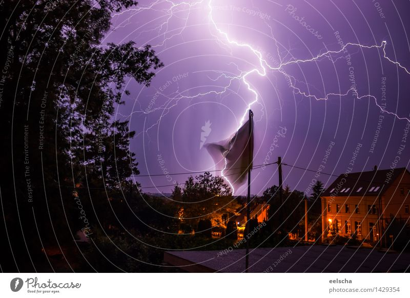 thunderstorms Environment Nature Air Sky Clouds Storm clouds Night sky Horizon Summer Autumn Weather Bad weather Wind Gale Rain Thunder and lightning Lightning