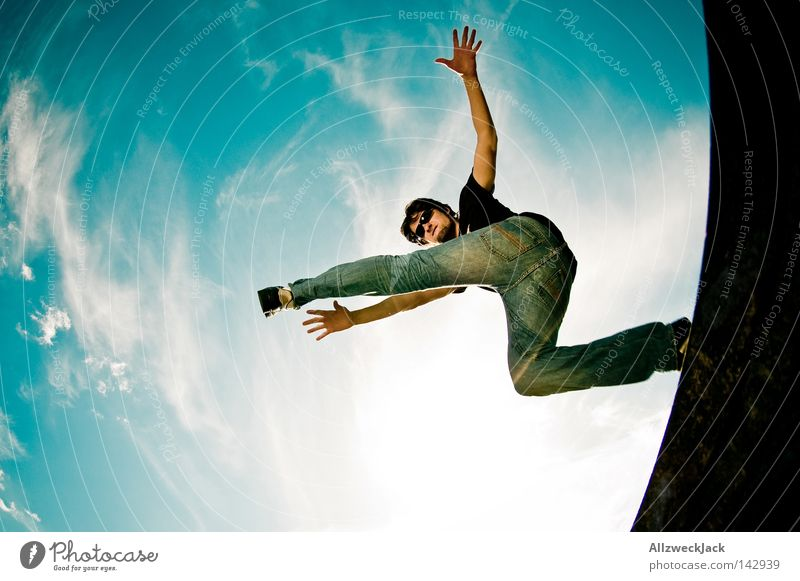 Sky Man Joy Jump Power Wild Force Bottom Jeans Hind quarters Passion Denim Musician Funsport Potsdam Rocking out
