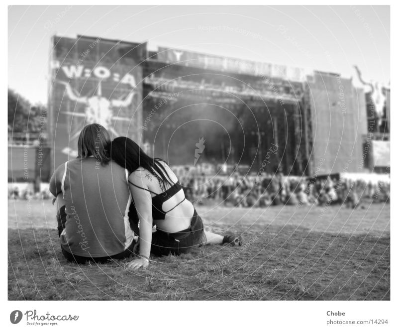 Human being Love Relaxation Music Couple In pairs Concert Cuddling Music festival Outdoor festival