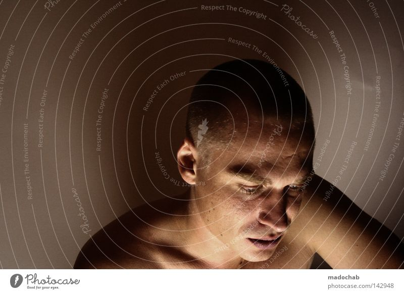 eleven II Copy Space left Neutral Background Shadow Portrait photograph Upper body Front view Downward Lifestyle Skin Face Illness Calm Sporting event Loser