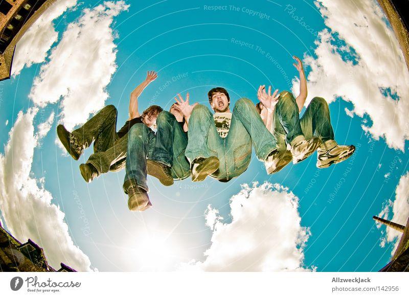 Music Sky Fisheye Joy Jump Group Human being Jeans Bottom Make music Hind quarters 4 Wild Passion Band