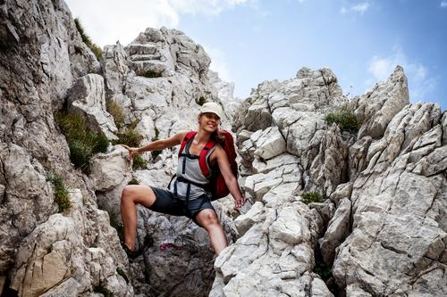scrambling Lifestyle Healthy Athletic Fitness Vacation & Travel Tourism Trip Adventure Far-off places Freedom Summer Summer vacation Sun Mountain Hiking Sports