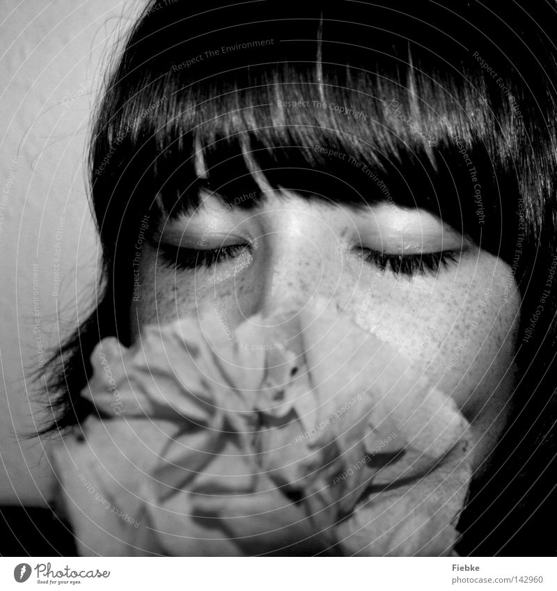 paper flower Flower Paper rose Human being Youth (Young adults) Woman Feminine Bangs Eyes Closed Nose Eyelash Freckles Hair and hairstyles Brown Face Head Cheek
