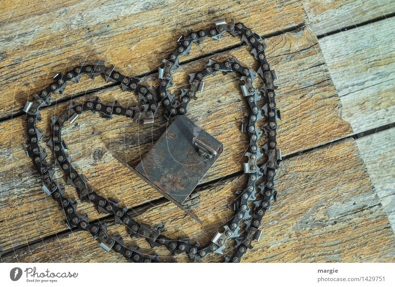 Key to the heart especially: chain saw and door lock on wooden planks Valentine's Day Tool Wood Metal Sign Heart Lock Brown Yellow Happy Friendship Together