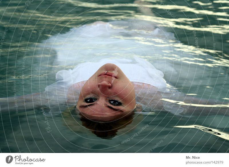 Woman Water White Beautiful Ocean Calm Face Eyes Death Feminine Lake Swimming & Bathing Waves Mouth Nose Grief