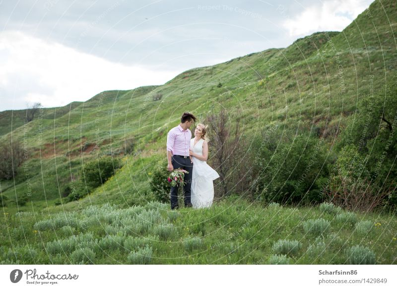 Bride and groom on the coast. Human being Woman Nature Vacation & Travel Youth (Young adults) Man Beautiful Calm Joy 18 - 30 years Mountain Adults Love Feminine