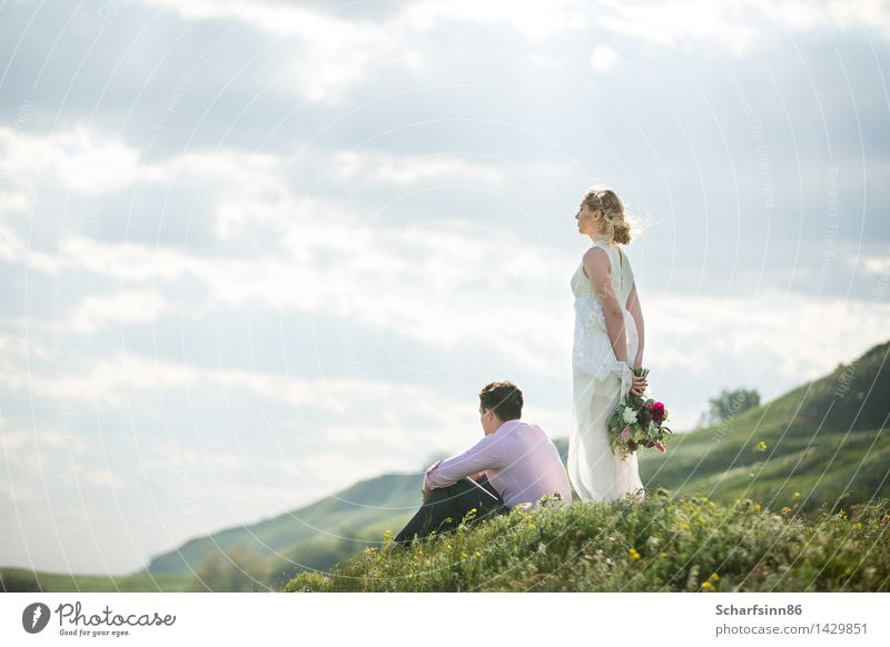 The bride and groom in the style of boho, rustic. Human being Vacation & Travel Youth (Young adults) Green Beautiful White Sun Joy 18 - 30 years Mountain Adults