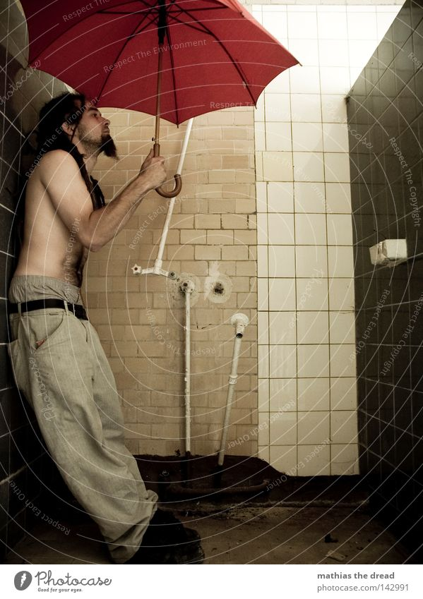 hydrophobia Shower (Installation) Shower room Train compartment Sunshade Umbrella Umbrellas & Shades Red Things Rain Wet Physics Damp Forget Loneliness Door