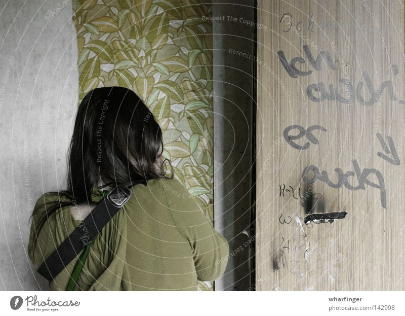 ...was there Wall (building) Wallpaper Green GDR Decline Old Door Smeared Daub Graffiti Wood Human being Back Ruin Looking Take a photo Derelict retro wallpaper