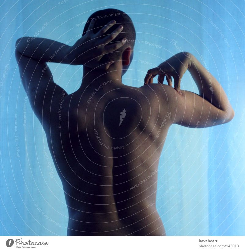 *** Nude photography Back Man Head Sense of touch Skin Mens back Rear view Gesture Posture Body language Thin Musculature Silhouette Contour Isolated Image