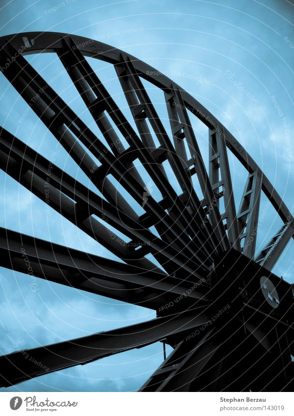 wheel of time Mine Mining Mine tower Industrial Photography Construction Metal Steel Blue Industry Sky