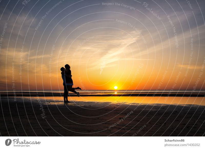 couple in love, silhouettes Human being Woman Sky Vacation & Travel Youth (Young adults) Man Summer Water Ocean Landscape Joy Beach Adults Love Spring Coast