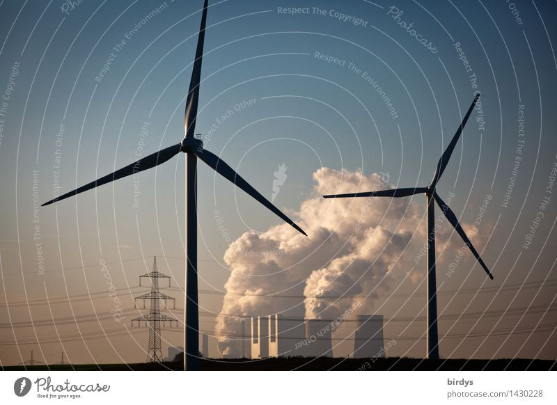Neurath power station Technology Energy industry Renewable energy Wind energy plant Coal power station Cloudless sky Climate change Beautiful weather