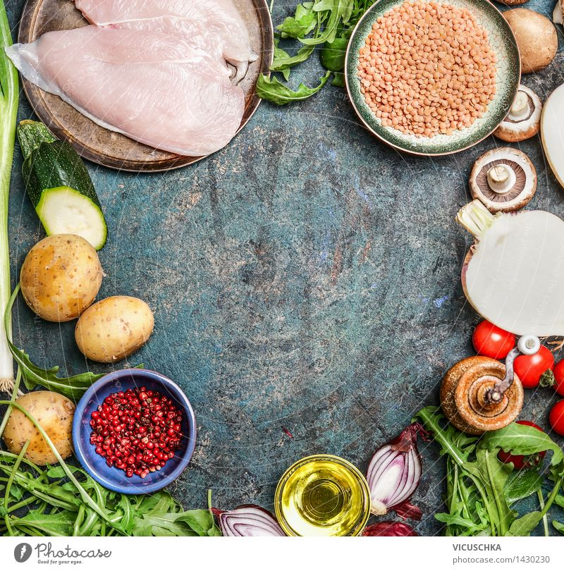 Healthy Eating Life Food photograph Style Background picture Food Design Fresh Nutrition Table Cooking & Baking Herbs and spices Kitchen Vegetable Organic produce Crockery