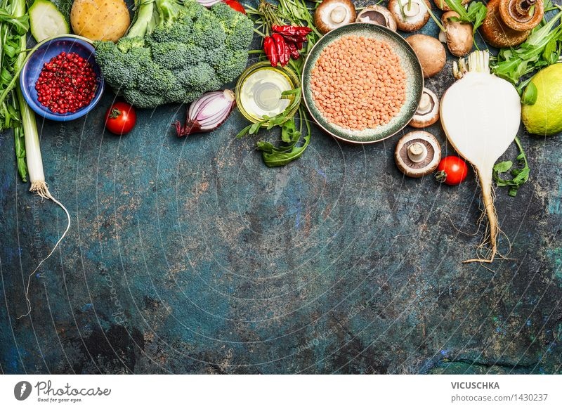 Vegetables, red lentils and ingredients for healthy cooking Food Grain Herbs and spices Cooking oil Nutrition Lunch Dinner Organic produce Diet Bowl Design