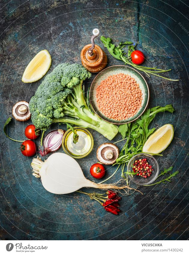 Fresh vegetables and ingredients with red lentils for healthy cooking Food Vegetable Grain Herbs and spices Cooking oil Nutrition Organic produce